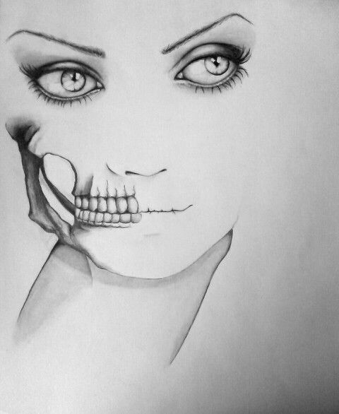 Half Skull half face | Art | Pinterest | Skulls and Faces