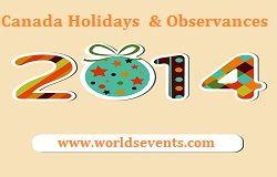 Canada Holidays 2014 and Observances List - Public Holidays Calendar