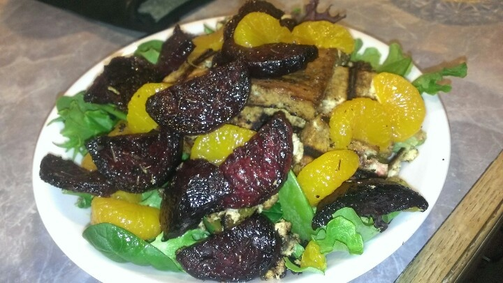 : Roasted thyme & olive oil beets with basalmic & rice vinegar tofu ...