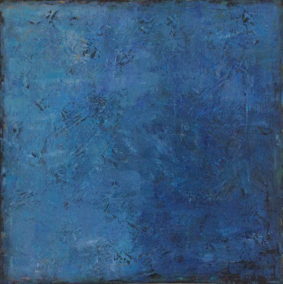 Arte de la pared azul grande lienzo pintura original azul - Pintura acrilica pared ...