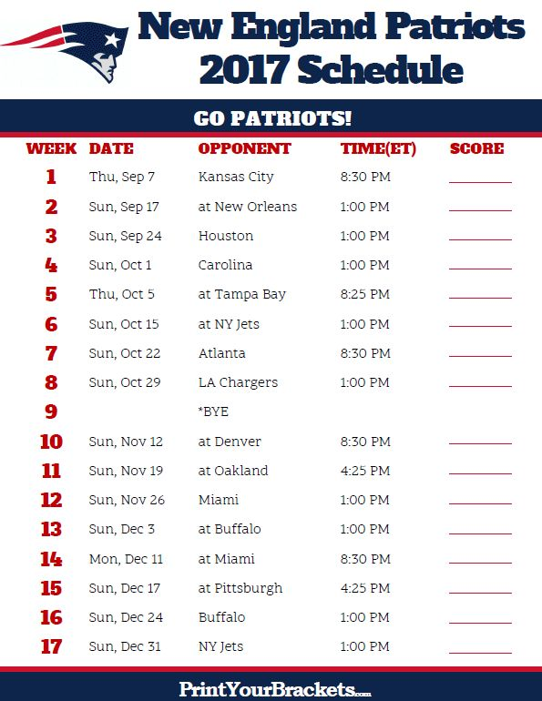 Printable New England Patriots Football Schedule
