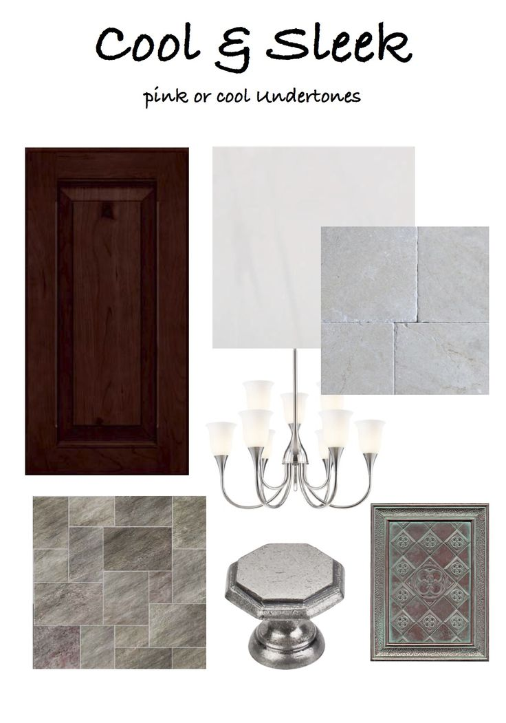 "What style kitchen do you love? Here is a sample board of a ""Cool & Sleek"" look. You'll find cool tones, gray granites and paint colors to match. The key to a successful kitchen design is to keep the undertones the same."