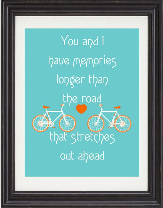 The Beatles, Love Song, Song Lyric, Art Print, Quote, Two Of Us, Bicycle, Fun, Colorful, Typography, Poster, 11x14