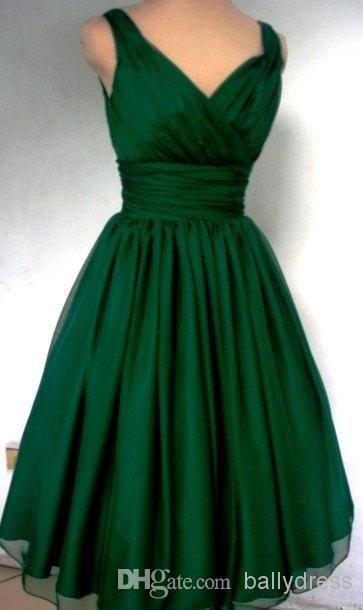 Wholesale 50s Dress - Buy Emerald Green 1950s Cocktail Dress Vintage Tea Length Plus Size Chiffon Overlay Elegant Cocktail Party Dress, $91.1 | DHgate