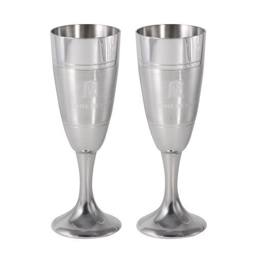 Celebrate in style with this pair of Stonehenge pewter celebration champagne flutes.