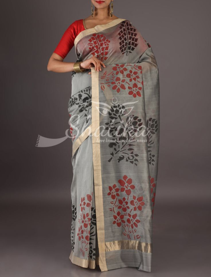 Lavanya Grey With Lace Gold Border Colorful Flowers Chanderi Block Printed Saree