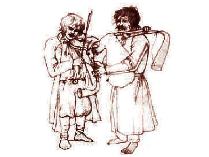 Szkic Radziwiłłówny przedstawiający muzykantów wiejskich, początek XIX wieku.