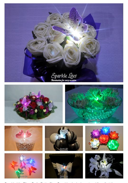Sparkle Lite Fiber Optic Butterflies. So whimsical, elegant and fun all at the same time. Can be used in floral decor, balloon decor, in chair bows, in water beads, etc.  For other images please see  https://sparklelites.com/photo-gallery/butterflies-in-flowers.html