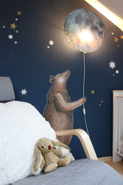 Hartendief, Kinderzimmer, Babyzimmer, Lampen fürs Kinderzimmer, Mondlampe Dekoration füs Kinderzimmer, Bär, Wandtattoos