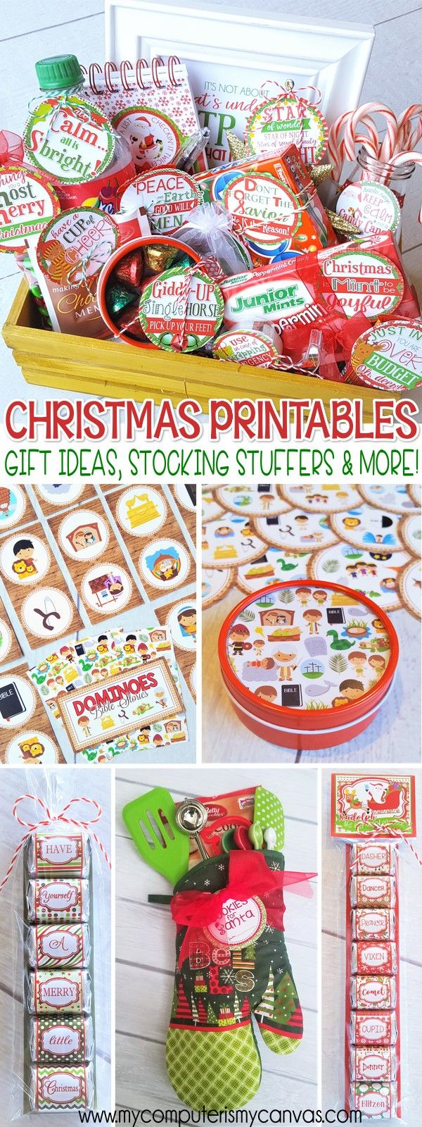 Christmas printables, stocking stuffer ideas, neighbor gifts, care package gift tags, teacher gift ideas and more! #mycomputerismycanvas