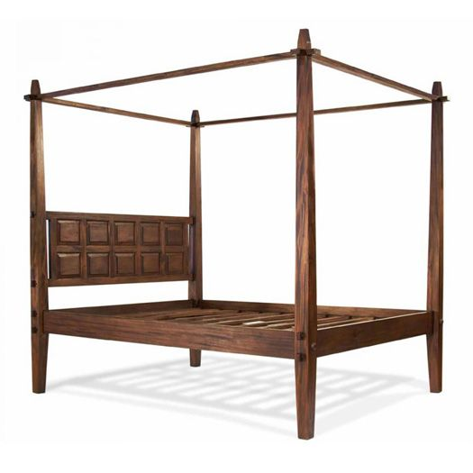 The Tropical Platform Bed is similar to the Lotus but it has a boxed design. The posts are square and taper down at the top. The headboard also follows this pattern with 10 beveled squares that are symmetrically placed. This bed is taller than standard platform beds and should increase ease of access.