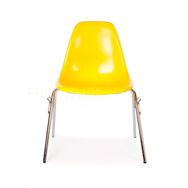DSS Plastic Stacking Lounge Dining Chair Eames Style - Yellow