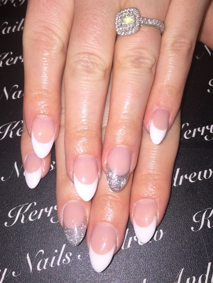 Sculptured Acrylic Nails Pink and whites Almond nails Glitter nail Engagement…