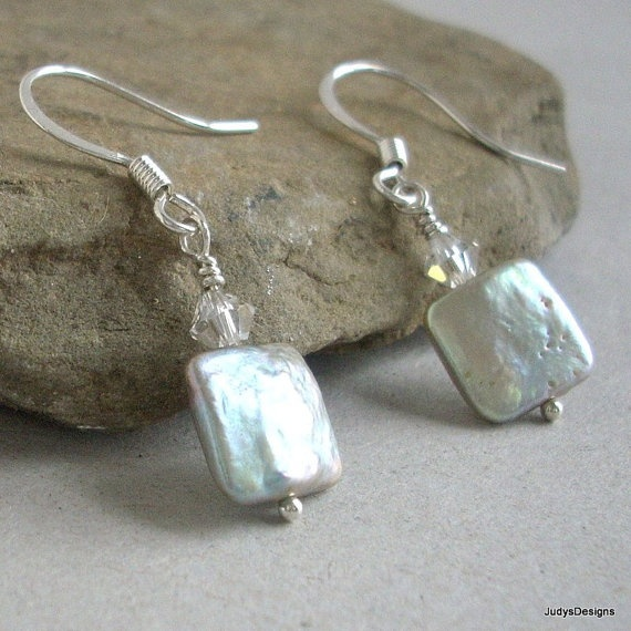 Square Pearl Earrings light green dangle sterling by JudysDesigns, $18.00