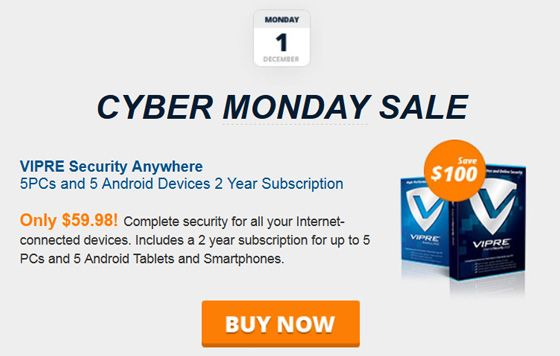 Cyber Monday VIPRE Security Aywhere