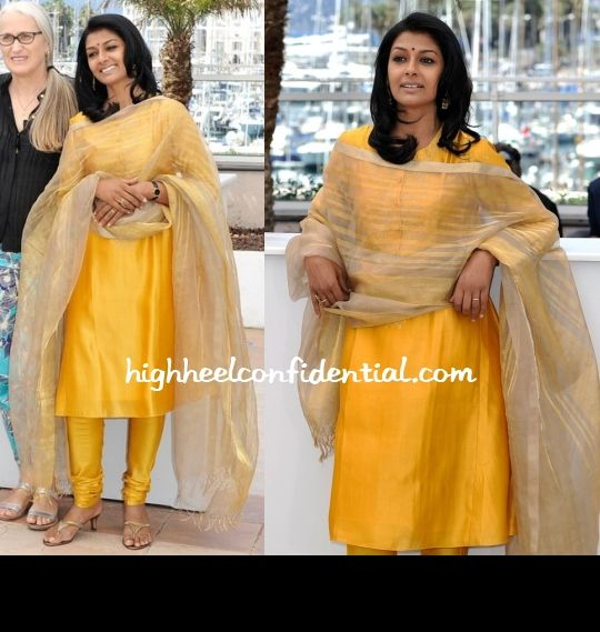 Nandita,who is part of the short films jury, attended a photo call today introducing her and her fellow members.  The simple cheery yellow suite was a welcome respite from all the taken-a-few-hours-to-put-it-on looks we've seen so far.