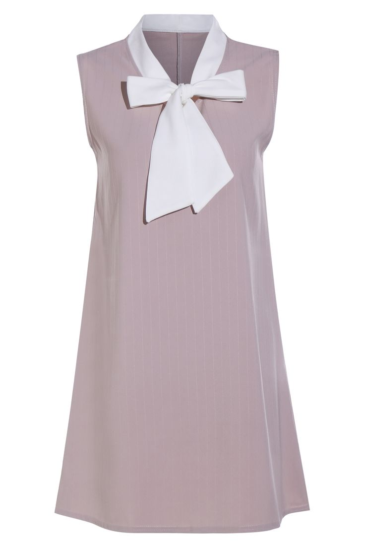 Bowknot Sleeveless Hit Color Dress PINK
