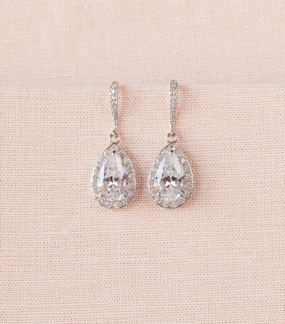 Crystal Bridal earrings Rose Gold Wedding by CrystalAvenues