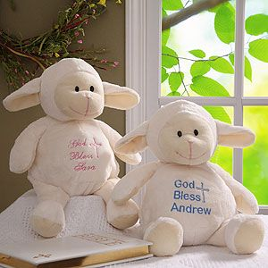 Baptism Blessings Personalized Baby Lamb - awww! It looks so soft and cuddly! Great gift idea for the new baby!