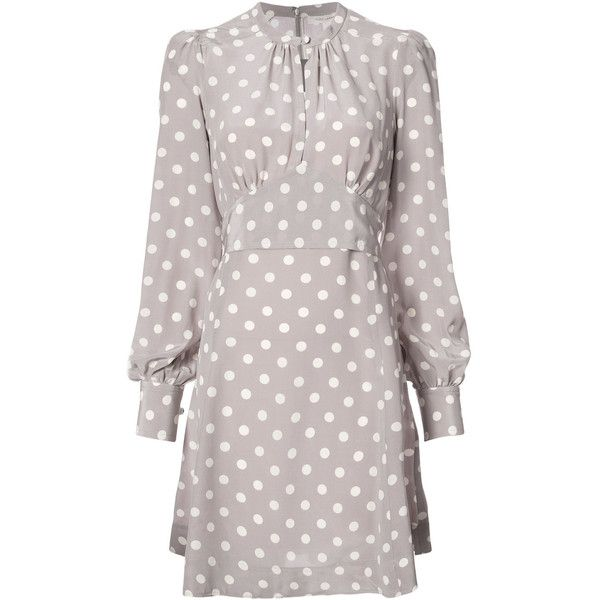 Marc Jacobs polka dot dress (40.910 RUB) ❤ liked on Polyvore featuring dresses, grey, embellished dress, circle skirts, grey long sleeve dress, skater skirts and flared skirt