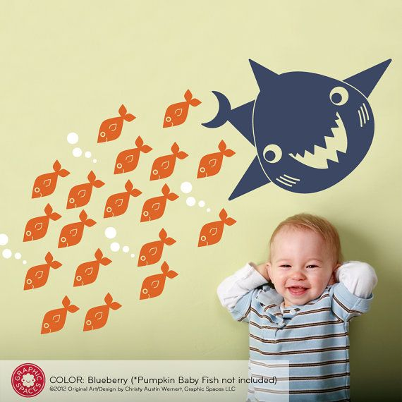 For above the crib-------Happy Shark Wall Decal Sticker Ocean Baby Nursery by graphicspaces, $15.00