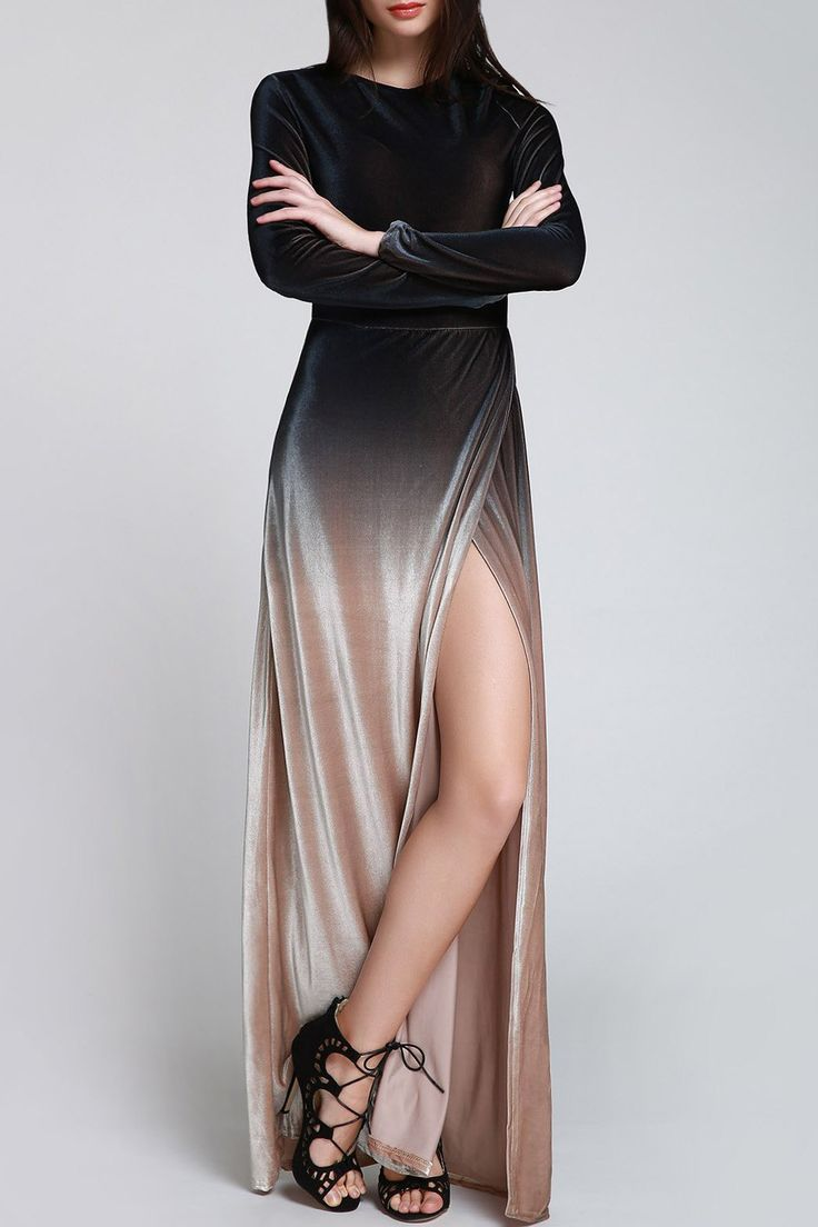 Black Side Slit Long Sleeves Dress | ZAFUL