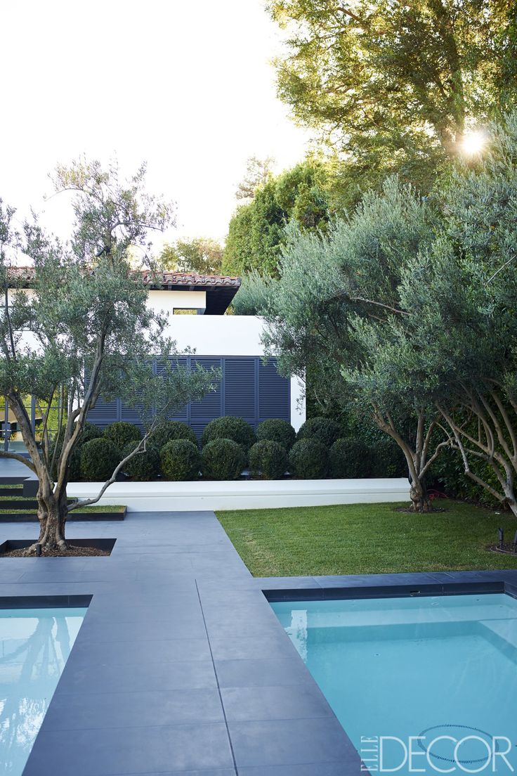 The pool area a tLori Loughlin and Mossimo Giannulli's LA mansion is surrounded by plenty of foliage, including olive trees and a hedge of boxwood balls. The dark concrete and angular shapes pick up on the modern details in their home.   - ELLEDecor.com
