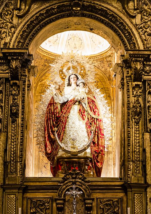"Santa Maria de las Nieves - Sevilla by Andrea Mazzocchetti We are in Seville, in the small but incredibly beautiful church of Santa Maria la Blanca, a masterpiece of Baroque art in the city of Andalusia and Europe. This is the virgin ""de Las Nieves"". The church is the home of the ""Hermandad del Rosario de Nuestra Señora de las Nieves"""