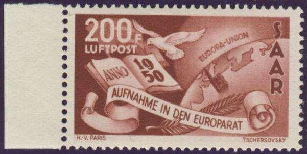 Germany, Saar, Saarland 1950, Europarat, 200 Fr., postfrisch Pracht (postfr., Mi.-Nr.298/Mi.EUR 180,--). Price Estimate (8/2016): 50 EUR.