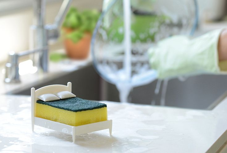 once the dishes are clean and bright, lay your sponge in its bed and let it sleep tight.