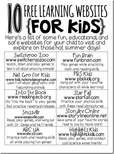 List of websites for student reading practice.
