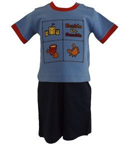 Beside The Seaside Baby Boy 2 Piece Shorts & T-Shirt Outfit in Blue £7.99
