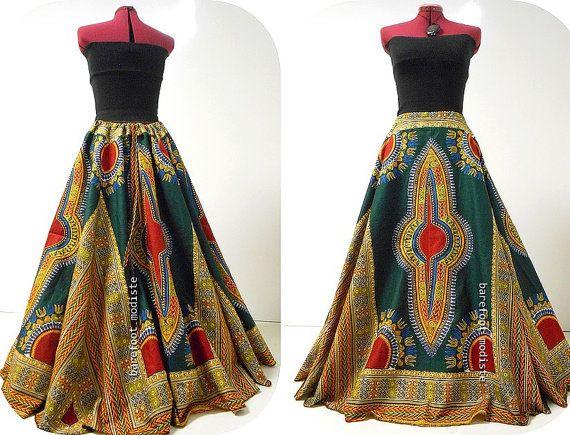 Fatou -  Plus Size Dashiki Maxi Skirt, African Print Fashion, Long Deep Green Maxi, Barefoot Modiste Handmade, Ideal for Size - XXL, 2X