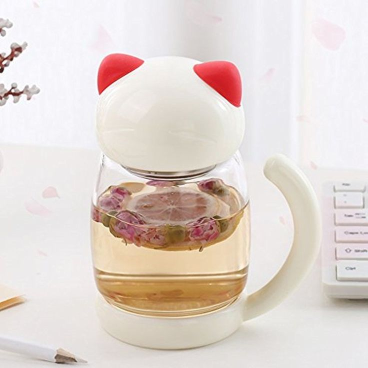 3D Cute Cat Glass Tea Cup Lid & Strainer Portable Tail Heat Resistant Mugs ,Free #Doesnotapply