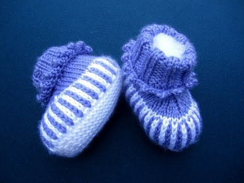 How to Knit Purple Striped Baby Booties Part 3 (or) How to sew Stockinette sts baby booties