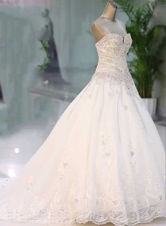 Sweetheart Rhinestone Appliques Cathedral Wedding Dress 3