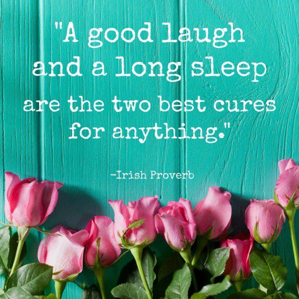 A good laugh and a long sleep are the two best cures for anything. – Irish Proverb thedailyquotes.com