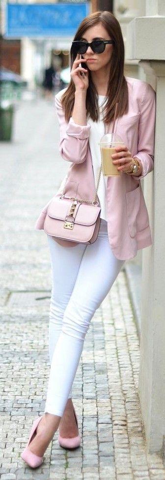 Powder pink blazer, cross body and heels
