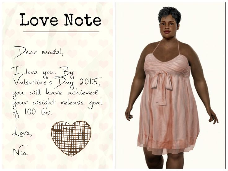 Dear model, I love you. By Valentine's Day 2015, you will have achieved your weight release goal of 100 lbs.   Nia