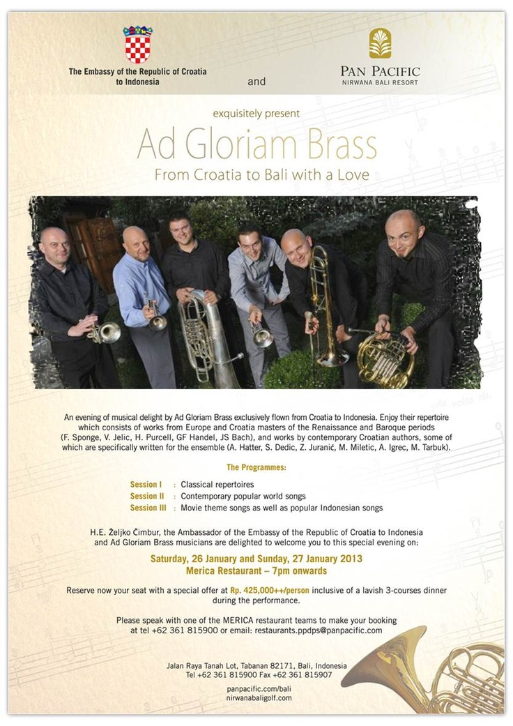 From Croatia to Bali with a Love by Ad Gloriam Brass on 26 & 27 January. Don't miss it