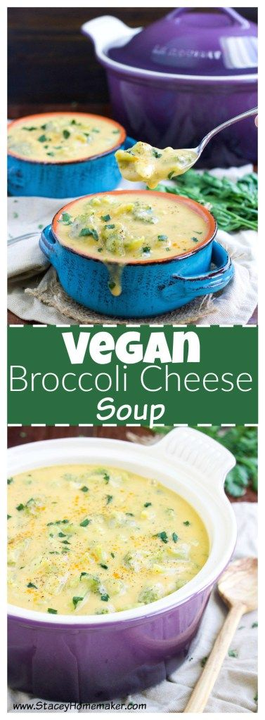 """This thick & creamy vegan broccoli cheese soup recipe is loaded with """"cheesy"""" goodness that will quench your craving for comfort food. Vegan, & gluten-free."""