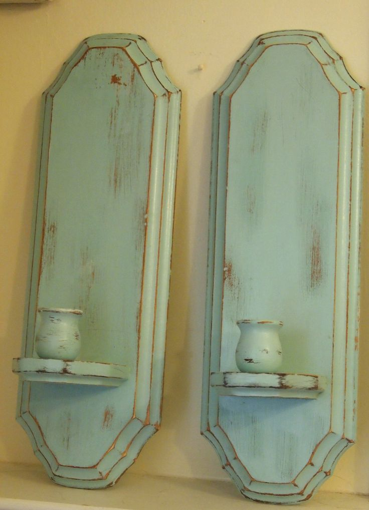 Wall Sconce Wood Vintage Candle Stick Holders Robins Egg Blue Painted Shabby Chic Cottage Chic ...