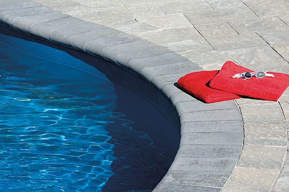 Cassina's distinctive bull-nose edge and smooth finish makes it a versatile option for pool copings, step treads and seat walls.