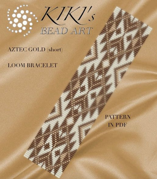 This is an own designed pattern in PDF format, downloadable directly from ETSY.  This pattern is for the Aztec gold LOOM bracelet in two versions , which are created using Japanese delica beads. This pattern is inspired by Native American designs.  The pdf files include: 1. a large picture of the pattern 2. a large, detailed graph of the pattern, 3. a bead legend with the colour numbers and count of the delica beads for the suggested length 4. a word chart of the pattern  for both versions…