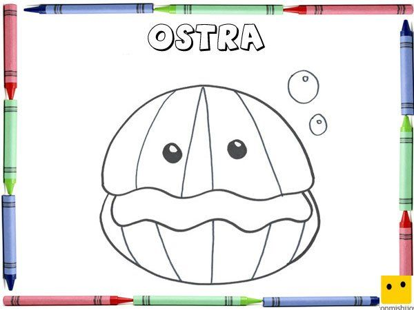 Dibujo Para Colorear Con Los Niños De Una Ostra Dibujos De Animales Dibujos Para Colorear Ostras De Mar