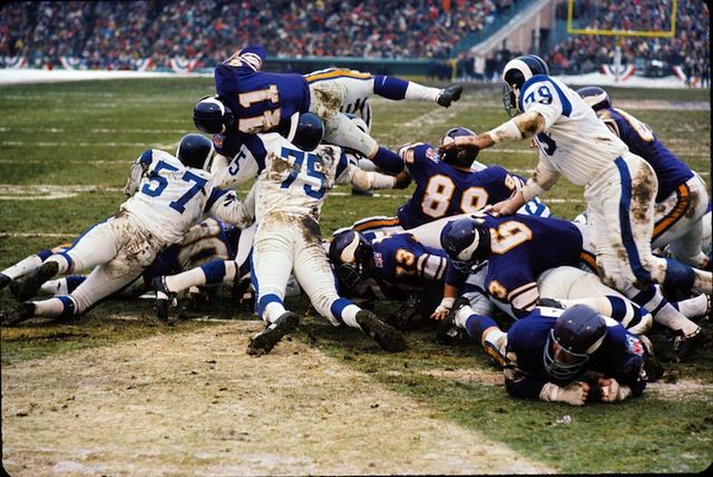 """Over the Top"": NFL Division Playoff, Vikings 23, Los Angeles Rams 20; Metropolitan Stadium; Dec. 27, 1969"
