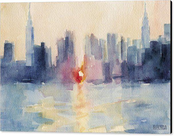 Manhattanhenge Canvas Print featuring the painting Manhattanhenge New York Skyline Painting by Beverly Brown Prints