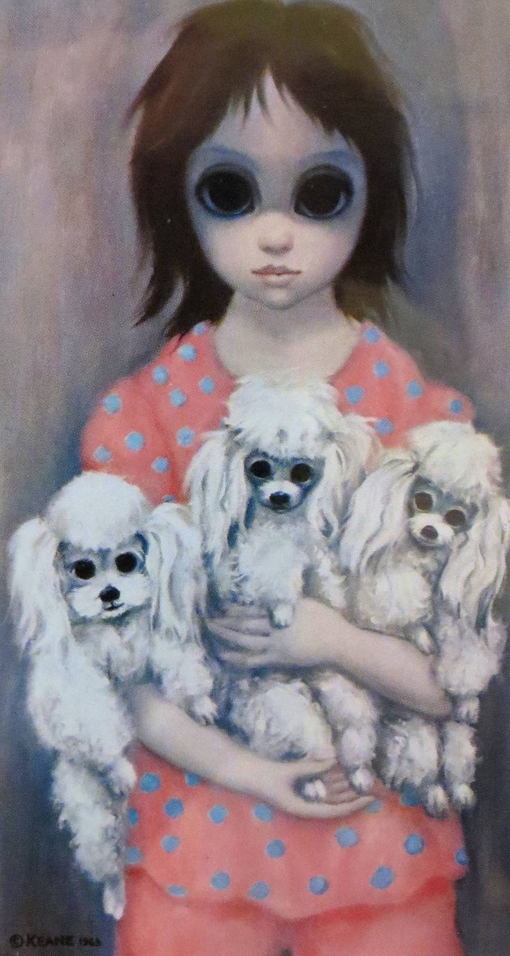m keane 1963 ~ big eye girl w/poodles
