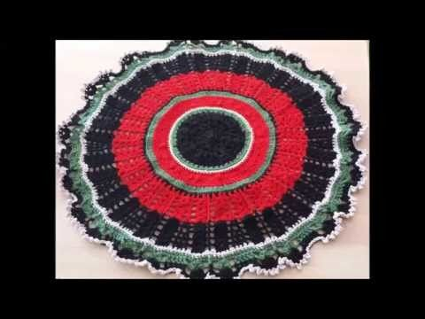 Crochet Round Tablecloth. Christmas tree skirt, Lacey Pattern (Easy)