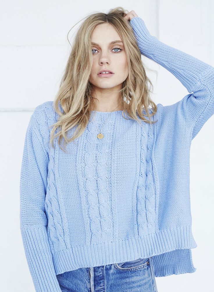 Faithfull The Brand - Charlotte Cable Knit - Light Blue